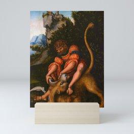 """Lucas Cranach the Elder """"Samson's fight with the Lion / Samson battling with the lion"""" Mini Art Print"""