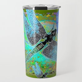 BLUE DRAGONFLIES MORNING GLORY GREEN ART Travel Mug