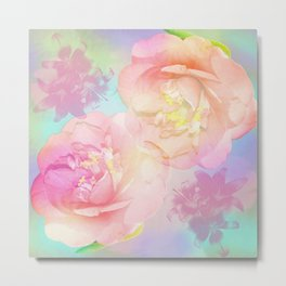Romantic Camellia's and Lillies with a pastel background Metal Print