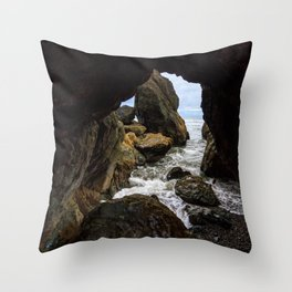 Ruby Beach Sea Cave Throw Pillow