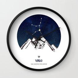 Astrology Virgo Zodiac Horoscope Constellation Star Sign Watercolor Poster Wall Art Wall Clock