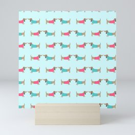 Cute dog lovers in mint background Mini Art Print