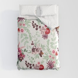 Abstract red pastel green pink country floral pattern Comforters