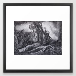 """Unknown Liberty"" - original abstract charcoal drawing Framed Art Print"