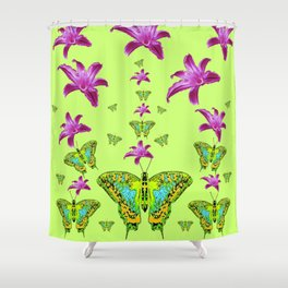 LIME COLOR PURPLE LILIES GREEN MOTHS Shower Curtain