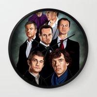 sherlock Wall Clocks featuring Sherlock by tillieke