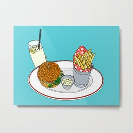 Burger, Chips and Lemonade Metal Print