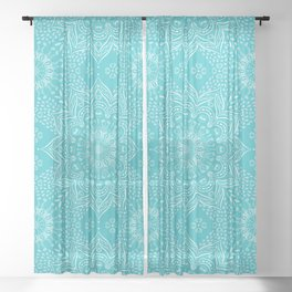 Teal mandala Sheer Curtain