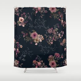 Japanese Boho Floral Shower Curtain