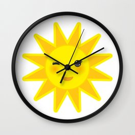 funny cartoon yellow sun smiling and winking eyes and pink cheeks, sun on white background Wall Clock