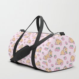 Pink Strawberries and Guinea pig pattern Duffle Bag