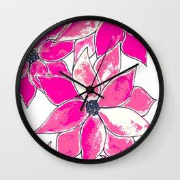 Pink vintage flowers Wall Clock