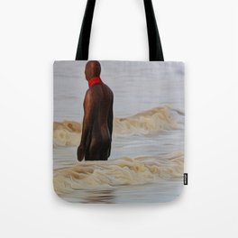 Gormley Statue in the Surf (Digital Art) Tote Bag
