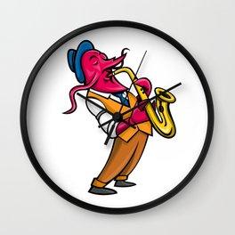 Crawfish Saxophone Player Mascot Wall Clock