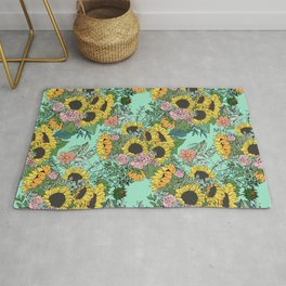 Trendy yellow sunflowers and pink roses mint design Rug