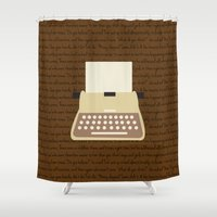 writing Shower Curtains featuring Writing on a typewriter by Katelyn Piontek