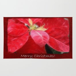 Mottled Red Poinsettia 2 Merry Christmas P5F5 Rug