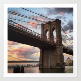 Brooklyn Bridge Sunset Art Print