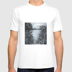 Snowy Heart White Mens Fitted Tee MEDIUM