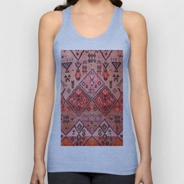N52 - Pink & Orange Antique Oriental Traditional Moroccan Style Artwork Unisex Tank Top