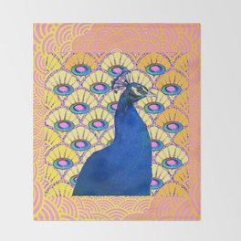 CONTEMPORARY BLUE ART DECO PEACOCK PINK-YELLOW ART Throw Blanket