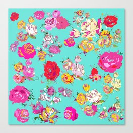 Floral with pink, red, yellow, and cream blooms. Version2 Canvas Print