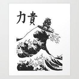 Samurai Surfing The Great Wave off Kanagawa Art Print