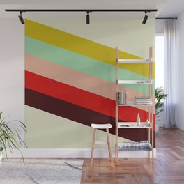 Juno - Colorful Classic Abstract Minimal Retro 70s Style Stripes Design Wall Mural