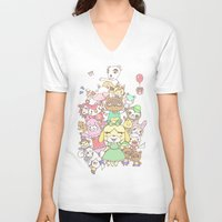 animal crossing V-neck T-shirts featuring Animal Crossing (yellow) by Siri