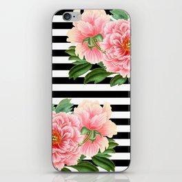 Pink Peonies Black Stripes iPhone Skin