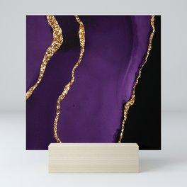 Purple Sangria Violet Marble With Gold Glitter Veins Mini Art Print
