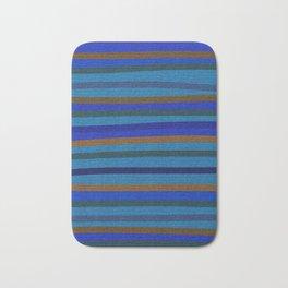 Denim Stripes in Blue, Tan, Cyan & Chocolate Bath Mat