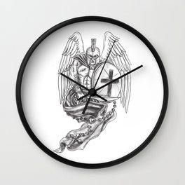 8604f27bd079b Spartan Warrior Angel Shield Rosary Tattoo Wall Clock
