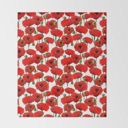 Red Poppy Pattern Throw Blanket