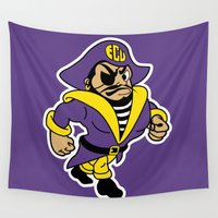 pirates Wall Tapestries featuring NCAA - East Carolina Pirates by Katieb1013