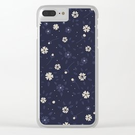 White and blue small flowers Japanese pattern Clear iPhone Case