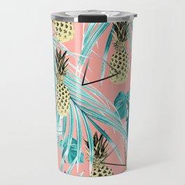 Tropical Pineapple Jungle Geo #6 #tropical #summer #decor #art #society6 Travel Mug