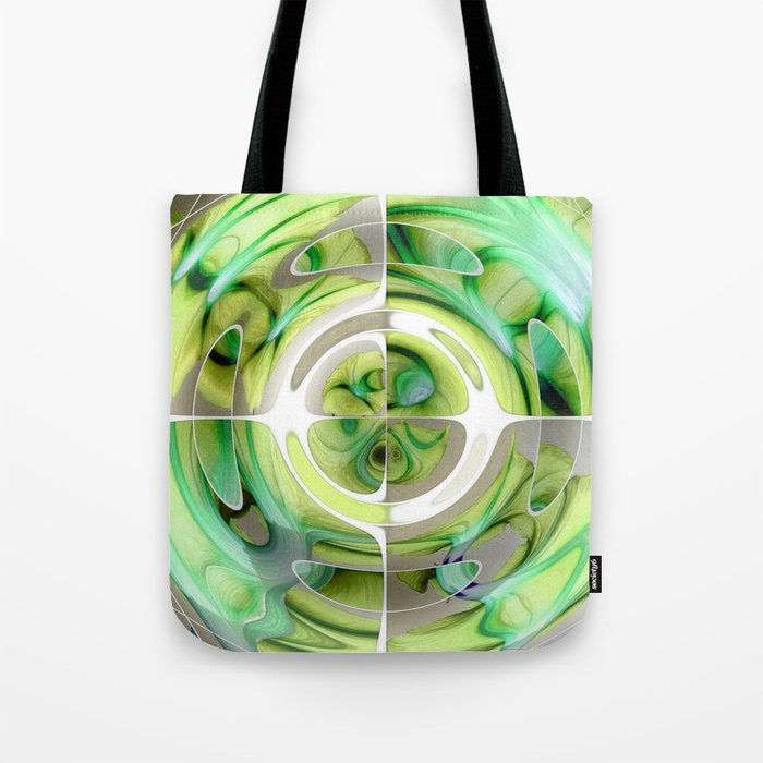 Lime and Green Abstract Collage Tote Bag