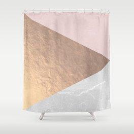 Geo tri - rose gold & concrete Shower Curtain