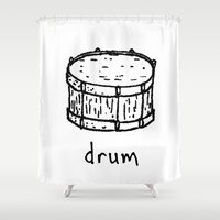 drum Shower Curtains featuring drum by Isaac Collmer