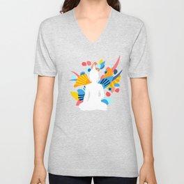 White Budda with Colorful Energy Unisex V-Neck