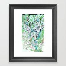 Zentangle Flower fire, green doodle Framed Art Print