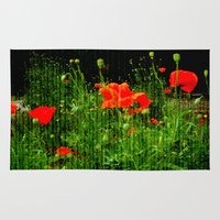 poppies Area & Throw Rugs featuring Poppies by Vitta