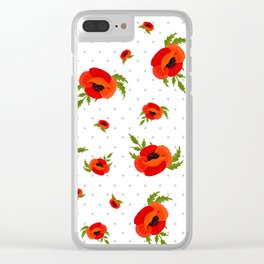 Poppy Flowers Pattern Clear iPhone Case