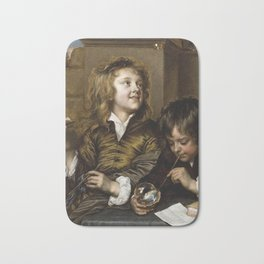 Adriaen Hanneman - Two Boys Blowing Bubbles Bath Mat