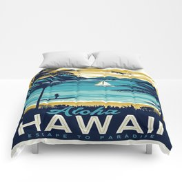 Vintage poster - Hawaii Comforters