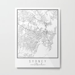 Sydney Australia Street Map Metal Print