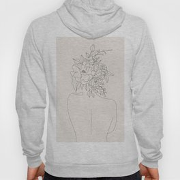 Woman with Flowers Minimal Line I Hoody