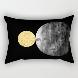 Orson - minimal black and gold modern marble abstract painting dark skywatching galaxy planets space Rectangular Pillow