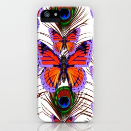 LILAC  FANTASY BUTTERFLIES GREEN PEACOCK EYES iPhone Case